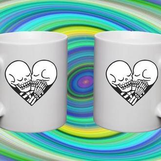 """К000354Парные белые чашки (кружки) с принтом """"Черепа сердце"""""""