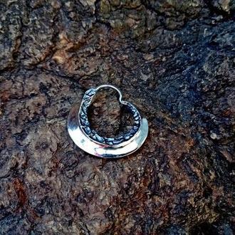 Сережка Козацька ′ЛЕЗО′ (двостороння, велика, срібло)