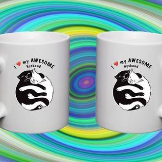 """К000361Парные белые чашки (кружки) с принтом """"Коты Инь и Ян"""""""