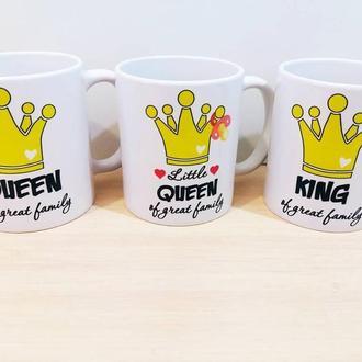 """К000415Семейные белые чашки (кружки) с принтом """"Королевская семья"""""""