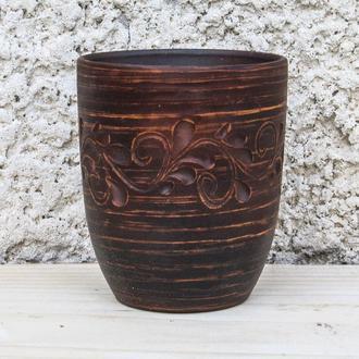 Склянка з червоної глини молочена з декором
