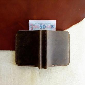 Маленький кошелек из кожи хаки