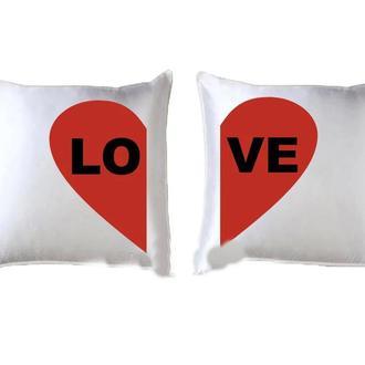 """П000122Парные декоративные подушки с принтом """"Сердце Love"""""""