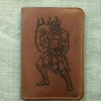 Кошелек мужской кожаный портмоне гравировка обложка на паспорт