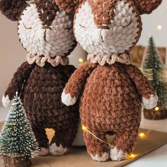 Новогодний плюшевый олень, олененок вязаный, подарок на новый год