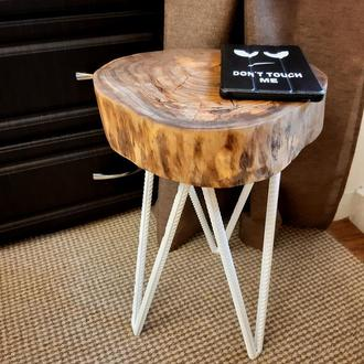 Табуретка, стул в стиле лофт из среза дуба 1шт