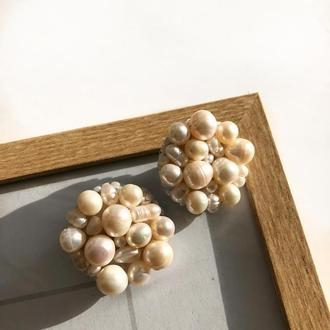 Сережки с натуральным жемчугом, жемчужные серьги, серьги гвоздики, сережки з перлинами