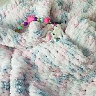 Плюшевый плед для детей из пряжи Alize Puffy
