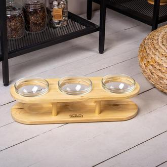 Подставка с мисками для собак и кошек Pets Lounge Bowl Glass, 3х200 мл
