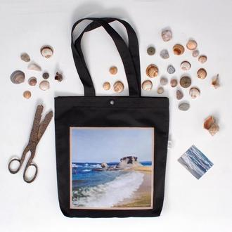 Черный шоппер с фото принтом Море Греция, эко-сумка с карманом, сумка для покупок, торба арт авоська
