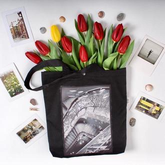 Арт шоппер с фото принтом Лестница, черная эко-сумка с карманом, сумка для покупок, торба, авоська