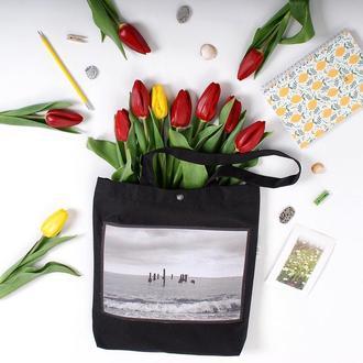 Эко-сумка с фото принтом Море, черный арт шоппер с карманом, эко-торба, сумка для покупок, авоська
