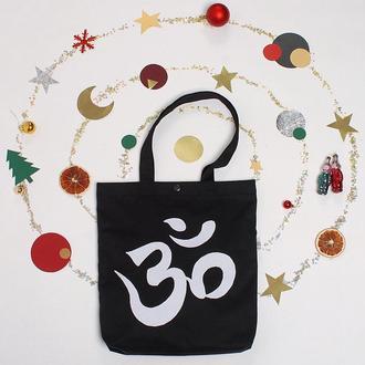 Черный шоппер ОМ с карманом, эко-сумка с аппликацией, сумка для йоги, сумка для покупок, торба