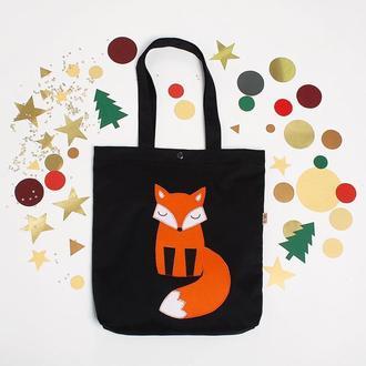 Черный шоппер Лиса, эко-сумка с аппликацией, сумка для покупок, женская сумка, эко-торба