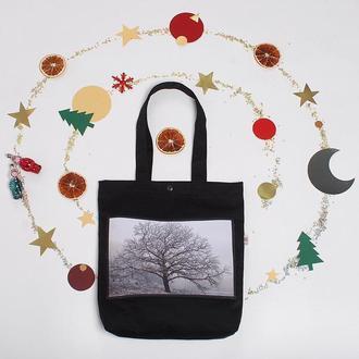 Эко-сумка с фото принтом Дерево, черный шоппер с карманом, эко-торба, сумка для покупок, арт авоська