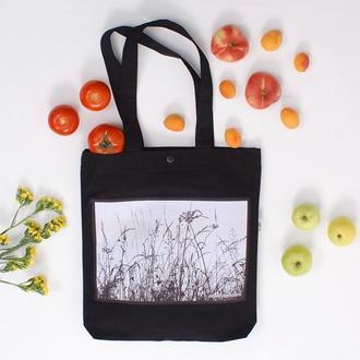 Эко-сумка с фото принтом Травы, черный шоппер с карманом, эко-торба, сумка для покупок, арт авоська