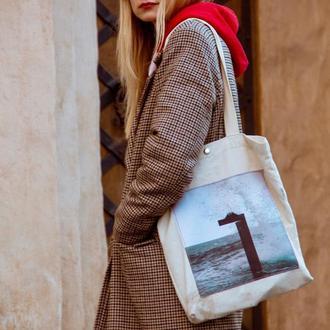 Арт шоппер с фото принтом Ланжерон 2, белая эко-сумка с карманом, сумка для покупок, сумка, авоська