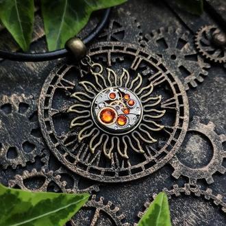 (наличие апрель-май) Соулус (модель №2) - кулон солнце с настоящим часовым механизмом