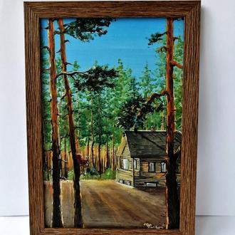 Картина маслом сосновый лес, Сосновый бор маслом, Авторская живопись, Картина на подарок