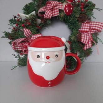 Чашка в виде Санта Клауса новогодняя