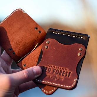 Кожаный кошелек бумажник портмоне  с прижимом для денег - купюр ручной работы