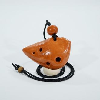 Окарина из красной глины. Английский кулон 4 отверстия 8 нот. (Ocarina pendant 4 hole)