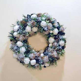 Рождественский новогодний веночек на дверь/стену ....