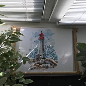 Картина, вышитая крестом «Маяк. Свет надежды»