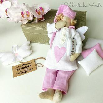 """Интерьерная кукла """"Сонный Ангел"""". Текстильный Ангел в стиле Тильда. Сплюшка Ангел."""