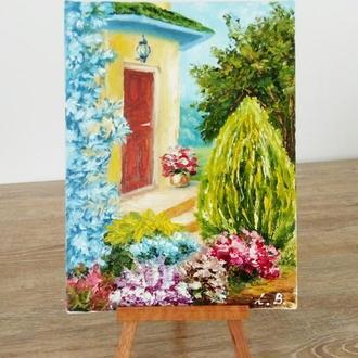 """Картина маслом, миниатюра, пейзаж """"Уютный дворик"""" солнечный"""
