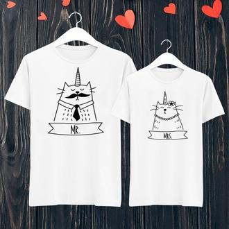 """ФП005840Парные футболки с принтом """"Коты единороги"""" Push IT"""