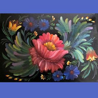 Картина Танец Цветов, оригинал, гуашь/картон/А4, без рамки