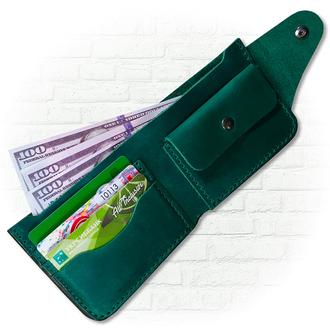 Кожаный кошелек зелёного  цвета, бумажник, портмоне