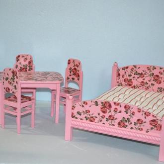 Мебель для кукол Набор с кроватью и обеденным столом