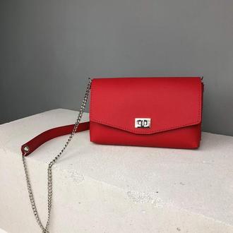 Кожаный клатч на цепочке PARTY 60031 Красный