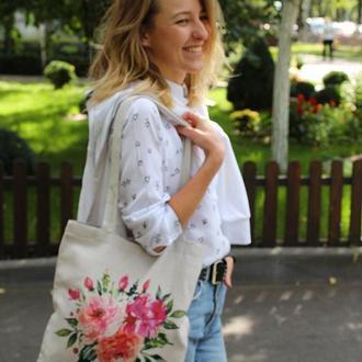 Экосумка с цветами Киев, екосумка Тернопіль, шопер, подарок маме сумка с цветами Киев