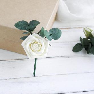 Бутоньерка с розой и эвкалиптом, Бутоньерка с цветами жениху