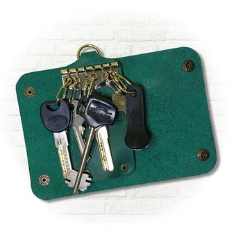 Ключница кожаная зелёного цвета