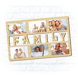 "Деревянная рамка для фото ""Family"""
