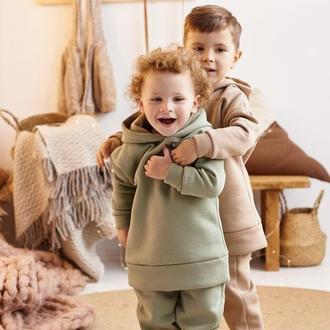 Теплый прогулочный костюм для мальчиков от 2-х до 5 лет комплект худи и штаны