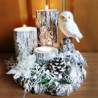 Новогодний подсвечник на спиле дерева с совой