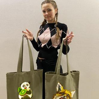 Сумка для покупок, сумка-шоппер ручної роботи, еко-сумка з малюнком, торба для покупок