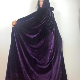 фиолетовая бархатная накидка в пол с капюшеном, хелловин плащ накидка, косплей накидка