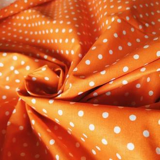 Хлопок для рукоделия оранжевый горох 4мм