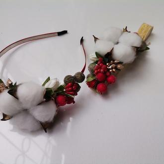 Ободок обруч с хлопком и ягодами
