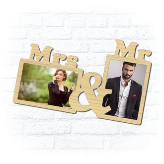 """Деревянная рамка для фото """"Mrs & MR"""""""