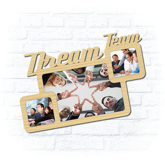 "Деревянная рамка для фото ""Dream Team"""