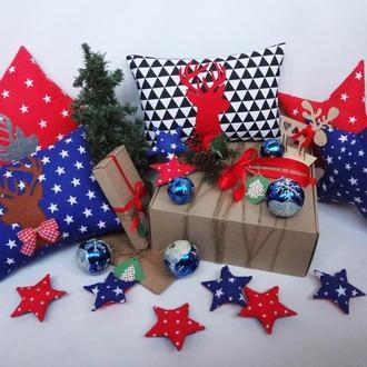 Декоративная новогодняя подушка, новогодний подарок, подарок на новый год, подушка с оленем