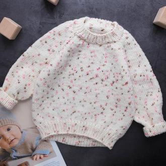 Детский вязаный джемпер / белый свитер / кофта / реглан