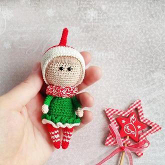Вязаная новогодняя игрушка на елку, новогодний подарок, праздничный декор